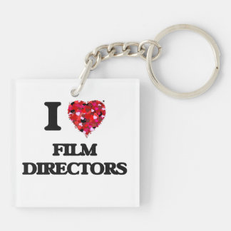 I love Film Directors Double-Sided Square Acrylic Key Ring