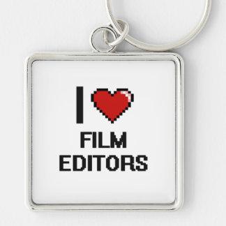 I love Film Editors Silver-Colored Square Key Ring