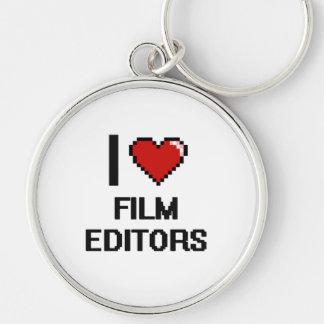 I love Film Editors Silver-Colored Round Keychain