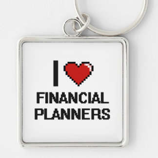 I love Financial Planners Silver-Colored Square Key Ring
