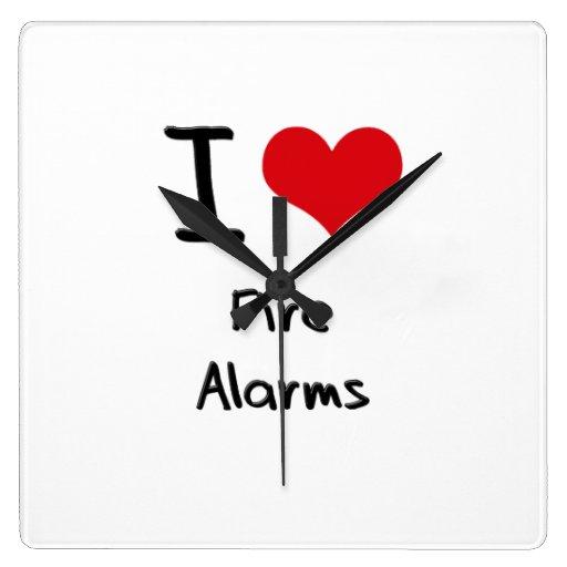 I Love Fire Alarms Square Wall Clocks