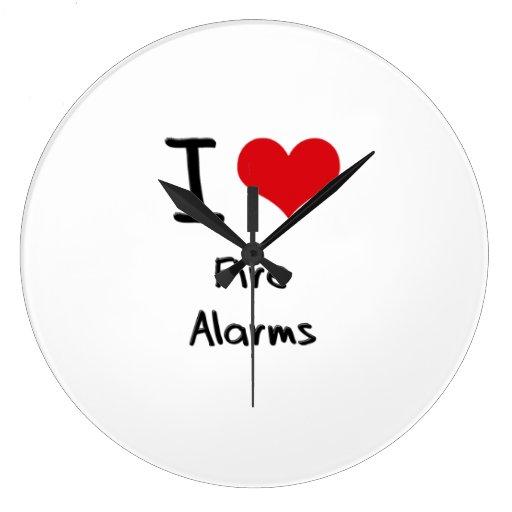 I Love Fire Alarms Wall Clocks