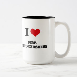 i LOVE fIRE eXTINGUISHERS Two-Tone Coffee Mug