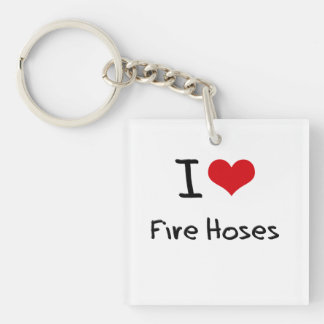 I Love Fire Hoses Double-Sided Square Acrylic Key Ring