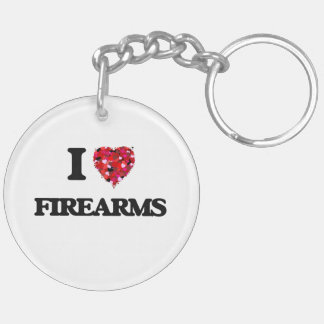 I Love Firearms Double-Sided Round Acrylic Key Ring