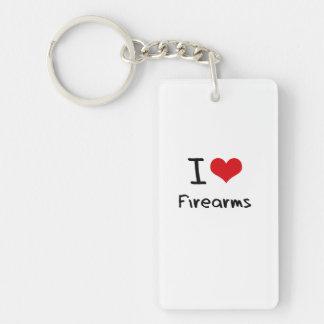 I Love Firearms Double-Sided Rectangular Acrylic Keychain