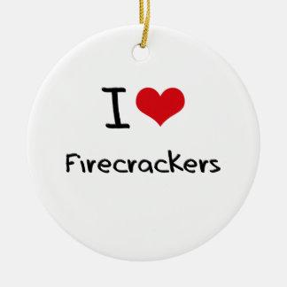 I Love Firecrackers Christmas Ornament