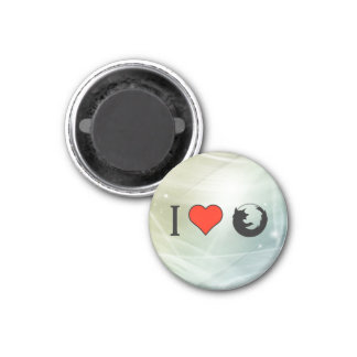 I Love Firefox Browser 3 Cm Round Magnet