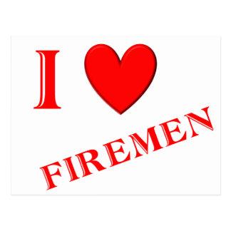 I Love Firemen Postcard