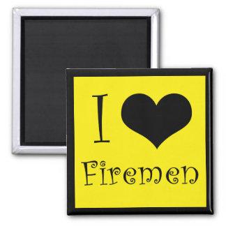 I Love Firemen Square Magnet