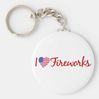 I Love Fireworks Basic Round Button Key Ring