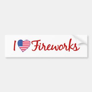 I Love Fireworks Bumper Sticker
