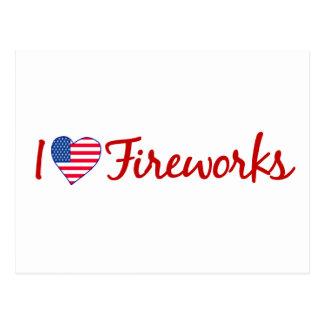 I Love Fireworks Postcard