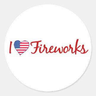 I Love Fireworks Round Sticker