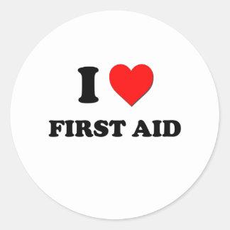 I Love First Aid Round Sticker