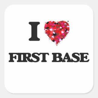 I Love First Base Square Sticker