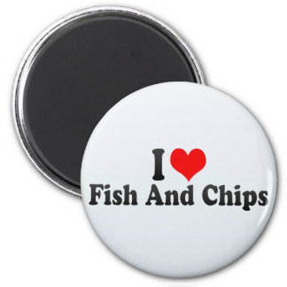 I Love Fish And Chips 6 Cm Round Magnet