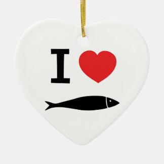 I love fish ceramic heart decoration