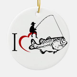 I love fishing otnament round ceramic decoration