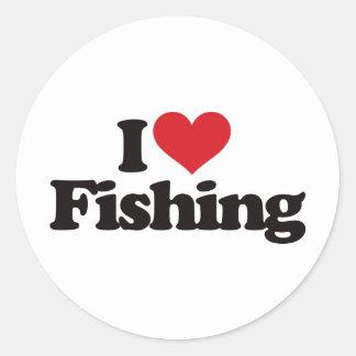I Love Fishing Round Stickers