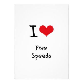I Love Five Speeds Personalized Invites