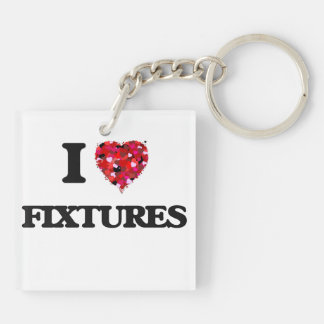 I Love Fixtures Double-Sided Square Acrylic Key Ring