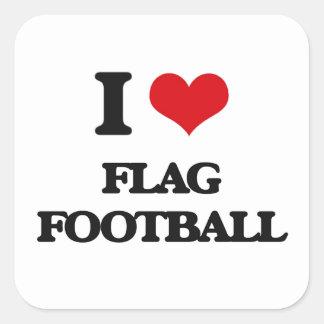 I love Flag Football Square Sticker