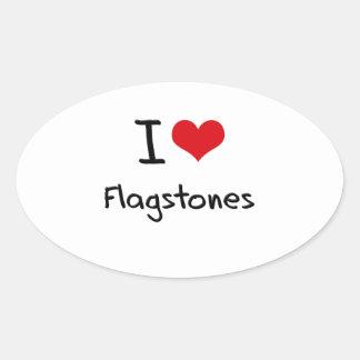 I Love Flagstones Oval Sticker