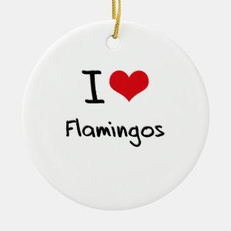 I Love Flamingos Christmas Ornament