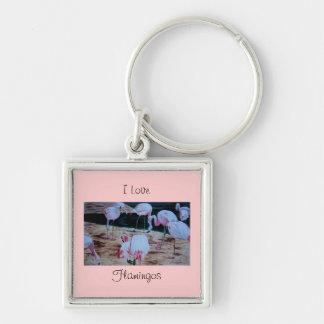 I Love Flamingos Fine Art watercolor Silver-Colored Square Key Ring
