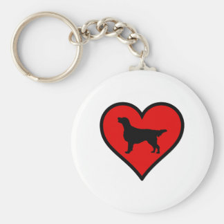 I Love Flat-Coated Retriever Silhouette Heart Basic Round Button Key Ring