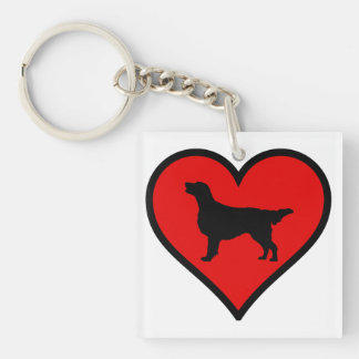I Love Flat-Coated Retriever Silhouette Heart Double-Sided Square Acrylic Key Ring