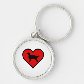I Love Flat-Coated Retriever Silhouette Heart Silver-Colored Round Key Ring