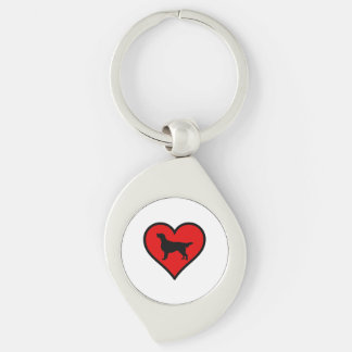I Love Flat-Coated Retriever Silhouette Heart Silver-Colored Swirl Key Ring