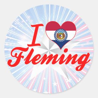 I Love Fleming, Missouri Round Stickers