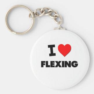I Love Flexing Basic Round Button Key Ring