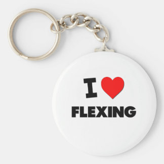 I Love Flexing Basic Round Button Key Ring