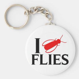I Love Flies Basic Round Button Key Ring