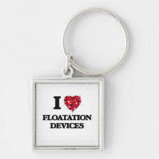 I Love Floatation Devices Silver-Colored Square Key Ring