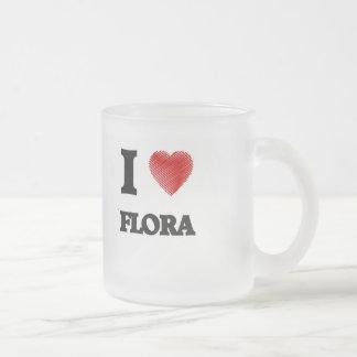 I love Flora Frosted Glass Mug