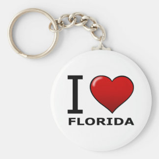 I LOVE FLORIDA BASIC ROUND BUTTON KEY RING