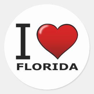 I LOVE FLORIDA ROUND STICKER