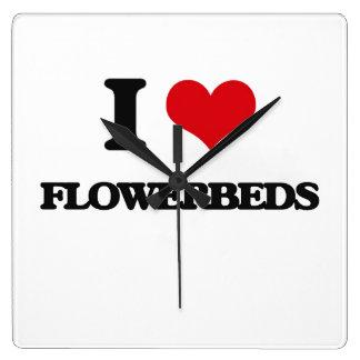 i LOVE fLOWERBEDS Square Wallclocks