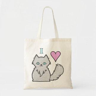 I Love Fluffy White Kitties Budget Tote Bag