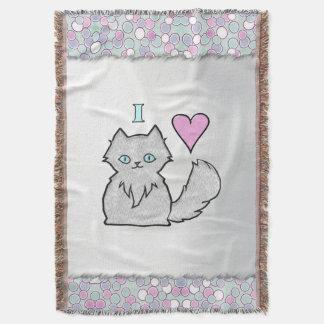 I Love Fluffy White Kitties Throw Blanket