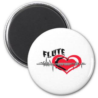 I Love Flute Heart 6 Cm Round Magnet