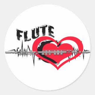 I Love Flute Heart Classic Round Sticker