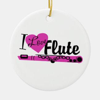 I Love Flute Marching Band Photo Round Ceramic Decoration