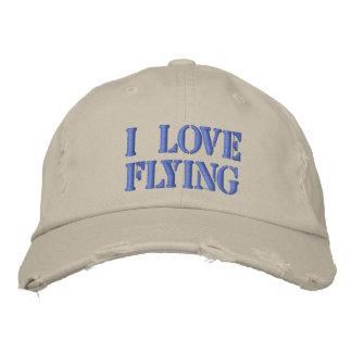 I LOVE FLYING EMBROIDERED BASEBALL CAP
