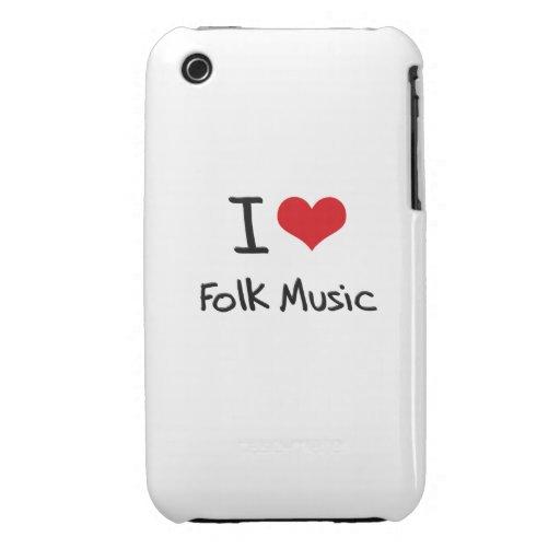 I Love Folk Music iPhone 3 Case-Mate Cases